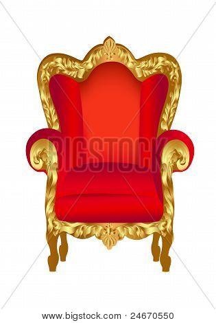 Antigua silla rojo con oro