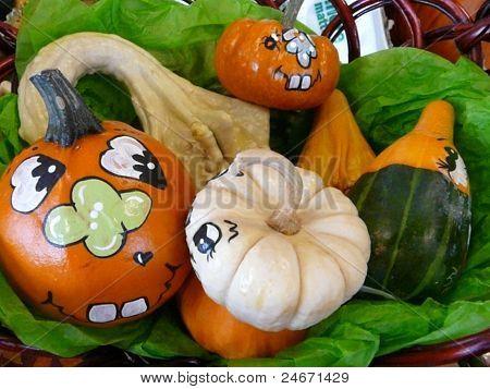 halloween pumpkin faces corn gourds