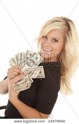 Woman Black Dress Hundred Dollar Bills
