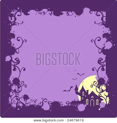 Halloween background with a scary house silhouette