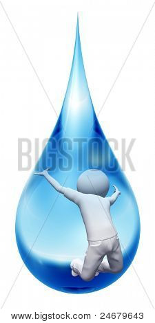 High resolution conceptual happy man jumping in a blue water drop isolated on white background