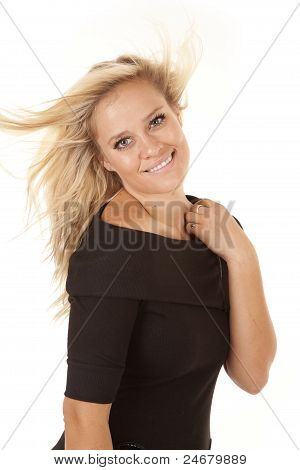 Woman Black Dress Hair Blow Smile
