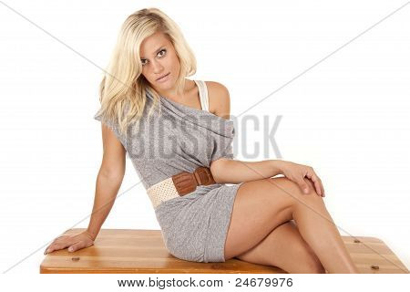 Woman Gray Dress Sit Bench