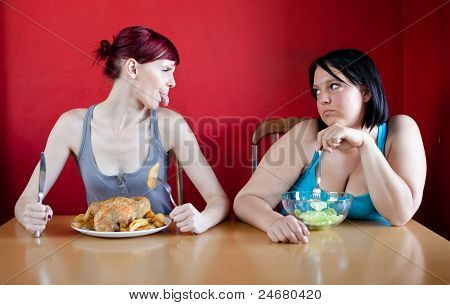 Skinny Girl With A Whole Chicken Teasing Fat Girl Who's On A Diet And Eating Salad