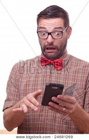 Hilarious Nerd Using A Gadget