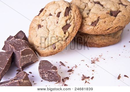 Stack of chocolate chip cookies with chocolate