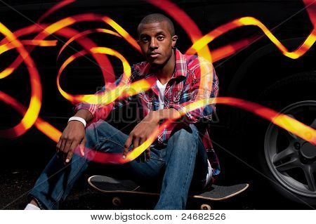 Cool Skateboarder Hanging Out With Light Trails