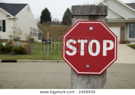 Stop Sign In Residential Neighborhood