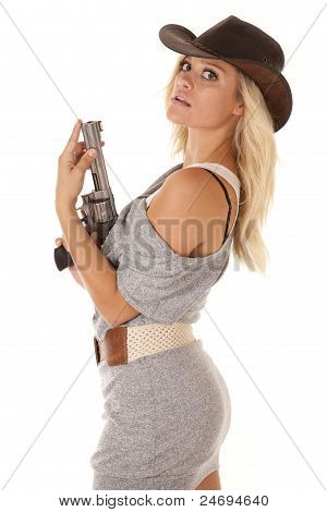 Woman Gun Gray Looking