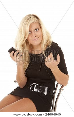 Woman Puzzled Phone Black Dress