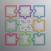 Colorful Puzzle Four Piece Business Presentation. Infographics. Rectangle 9 Steps Process Diagram Ca poster