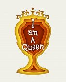 Vintage Queen Silhouette. Medieval Queen Front View. Elegant Silhouette Of A Female Head. I Am A Que poster