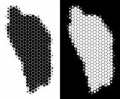 Постер, плакат: Pixel Halftone Dominica Island Map Vector Geographic Scheme On White And Black Backgrounds Abstrac