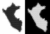Pixel Halftone Peru Map. Vector Geographic Plan On White And Black Backgrounds. Abstract Composition poster