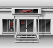 Template For Advertising 3d Store Front Facade. Shop Exterior With Door, Corporate Identity. Blank M poster