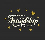 Happy Friendship Day Cute Poster. Hand Written Brush Lettering, Vintage Retro Style. Modern Calligra poster