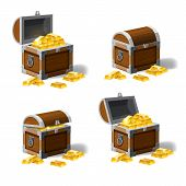 Set Of Treasure Chests, Open And Closed Pirate Treasure Chests, Locked, Empty, Full Of Coins Cartoon poster