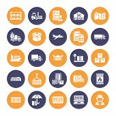 Cargo Transportation Flat Glyph Icons Trucking, Express Delivery, Logistics, Shipping, Customs , Pac poster