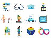 Technology Of Future Icon Set. Virtual Glasses Exoskeleton Flexible Display Pressing Button Vr Gamin poster