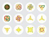 Celtic Ornament Icon Set. Infinite Knot Endless Symbol Eternal Knot Buddhist Symbol Decorative Eleme poster