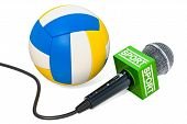 Volleyball News Concept. Microphone Sport News With Volleyball Ball, 3d Rendering Isolated On White  poster