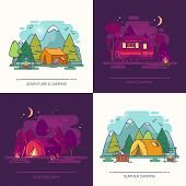 Camping In Forest At Day Or Night. Recreation In Wood With Hight Mountains, Tent, Kettle On Fire, Gu poster