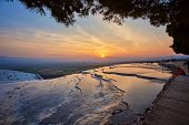 Landscape Of Pamukkale, Turkey. Sunset At Pamukkale Turkey poster