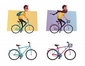 Funny Man With Long Beard Ride A Bike. Vintage Bicycle. Cartoon Vector Illustration. Vehicle For Tra poster