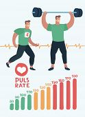 Vector Cartoon Illustration Of Element Of Pulse Rate Scale, Running Man, Man With Barbell And Rate P poster