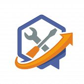 illustration icon with directional communication media concept of information solutions repair services.