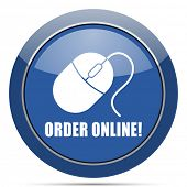 Order online round glossy web icon. Blue circle pushbutton illustration on white background. poster