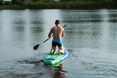 A Man Floats On A Sup Board On The Lake, Rear View, Paddle On The Board, Forest Lake poster