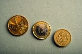 Coins One Dollar, One Euro, One Pound On A Pink Background. Types Of Coins Of America, Europe, Engla poster