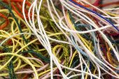 Multi-colored Tangled Colorful Needlecraft Silk Thread Rope. Macro Shot. Abstract Colors Background poster