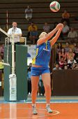 KAPOSVAR, HUNGARY - OCTOBER 2: Zsofia Horvath (5) in action at a Hungarian NB I. League volleyball g