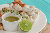 Steamed Crab Meat Prepared For Ready To Eat. Crab Meat Served With Thai Style Spicy Dipping Sauce On poster