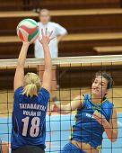 KAPOSVAR, HUNGARY - OCTOBER 2: Petra Horvath (4) in action at a Hungarian NB I. League volleyball ga