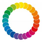 Color Wheel Made Of Circles. Rainbow Colored Circles Showing Mixed Complementary Colors That Are Use poster