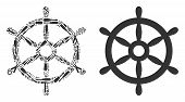 Boat Steering Wheel Composition Of Service Tools. Vector Boat Steering Wheel Icon Is Shaped Of Cogs, poster