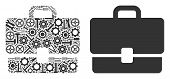 Case Composition Of Service Tools. Vector Case Icon Is Organized Of Gear Wheels, Wrenches And Other  poster