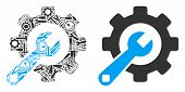 Service Tools Composition Of Workshop Tools. Vector Service Tools Icon Is Formed Of Gears, Wrenches  poster
