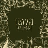 Set Of Travel Equipment. Accessories For Camping And Camps. Sketch Illustration Of Camping And Touri poster