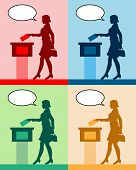 Female Voter Silhouettes With Different Colored Speech Bubble By Voting For Election. All The Silhou poster
