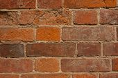 Red Brick Wall Texture Grunge Background With Vignetted Corners, May Use To Interior Design. poster