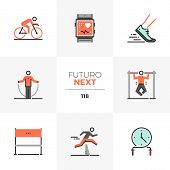 Modern Flat Icons Set Of High Intensive Training, Triathlon Competition. Unique Color Flat Graphics  poster