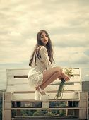 Beauty Fashion Model Girl. Fashion Look. Fashion Woman With Floral Bouquet. Fashion, Beauty, Look, M poster