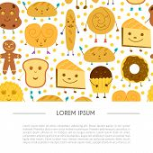 Vector Cartoon Illustration With Baking Ingredients. Cooking Ingredients Icons. Vector Cartoon Kitch poster