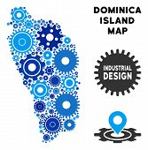 Постер, плакат: Repair Service Dominica Island Map Collage Of Cogs Abstract Territorial Plan In Blue Shades Vector