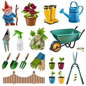 Country Cottage Garden Accessories Design Elements Set With Hedge Trimming Shears Flowers Plants See poster