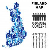 Vector Population Finland Map. Demography Concept Of Finland Map Composed Of Men With Different Post poster